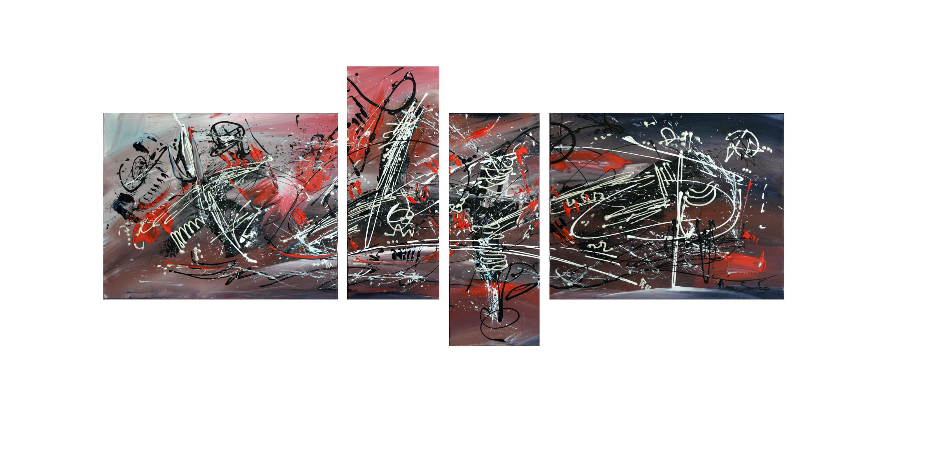 Quadriptyque abstrait gris noir blanc rouge moderne design for Tableau noir et blanc moderne