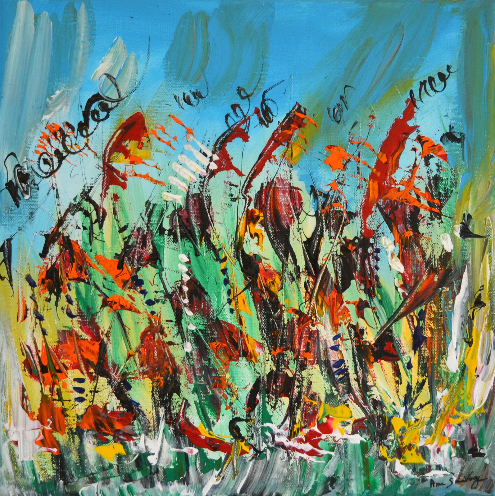 Peinture abstraite multicolore intitul e la marche lumineuse peinture moderne color e - Peinture abstraite coloree ...
