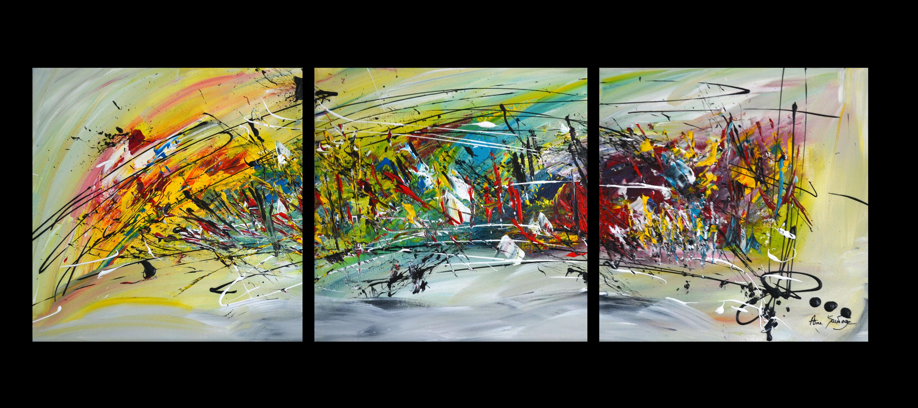 Tableau abstrait triptyque peinture multicolore for Tableaux en plusieurs parties