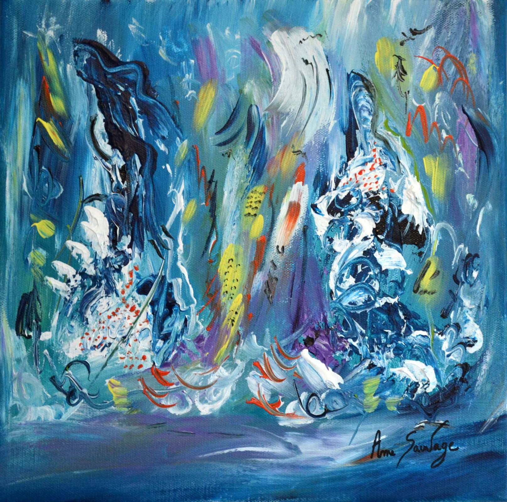 Tableau bleu moderne peintre contemporain abstrait for Peinture abstraite moderne