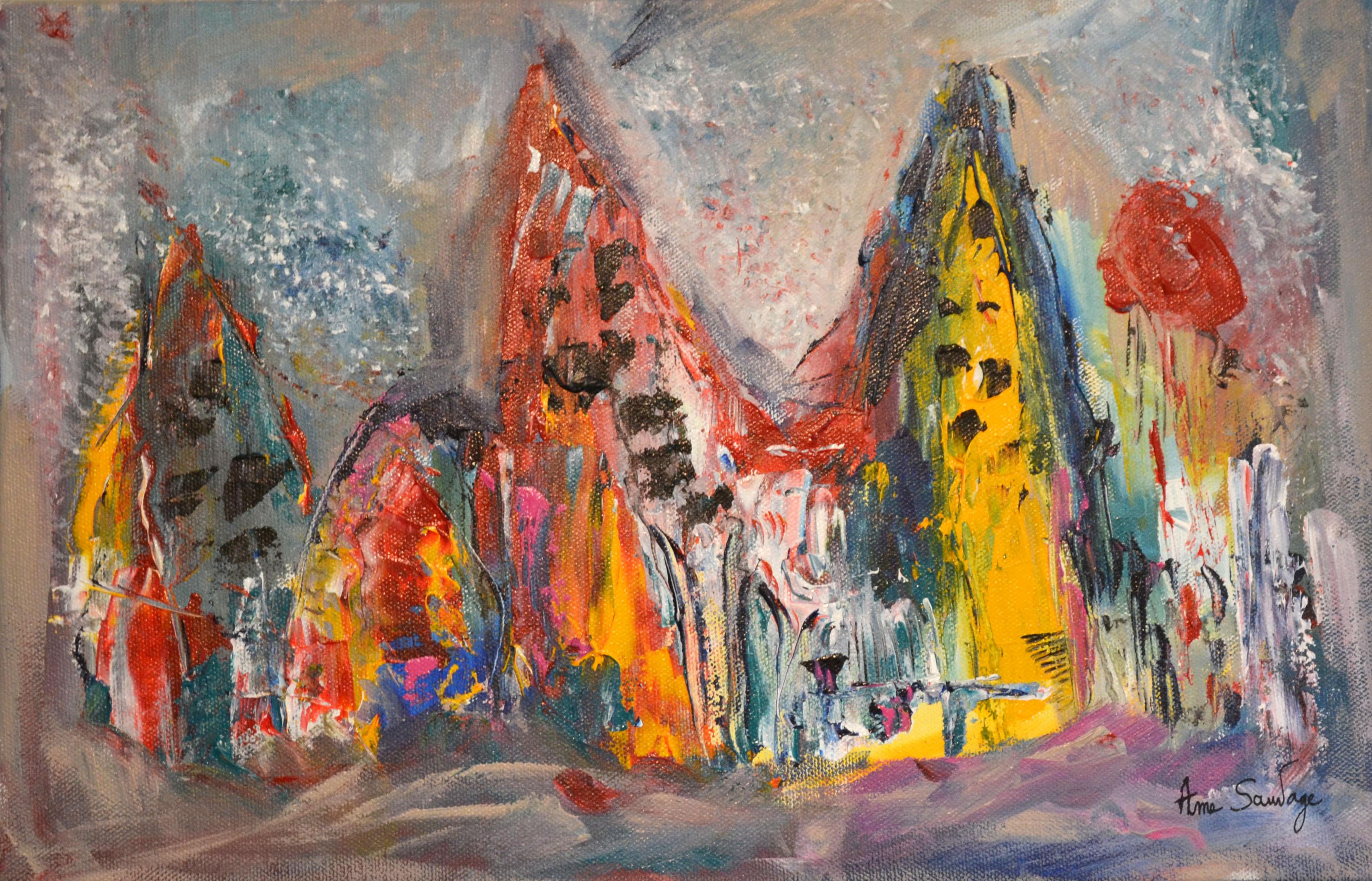Tableau contemporain peinture abstraite multicolore de l - Peinture contemporaine au couteau ...