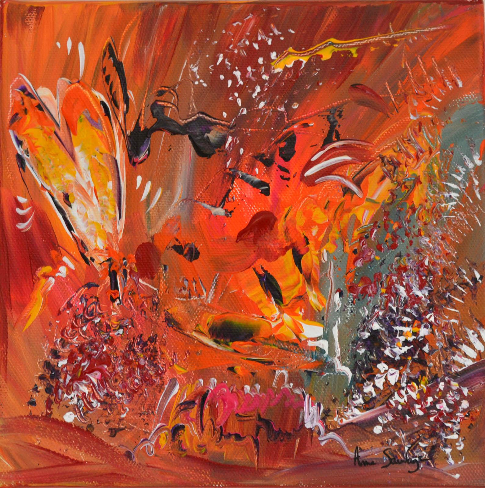 Peinture abstraite orange aspect floral tr s joyeuse for Peindre sur de la peinture