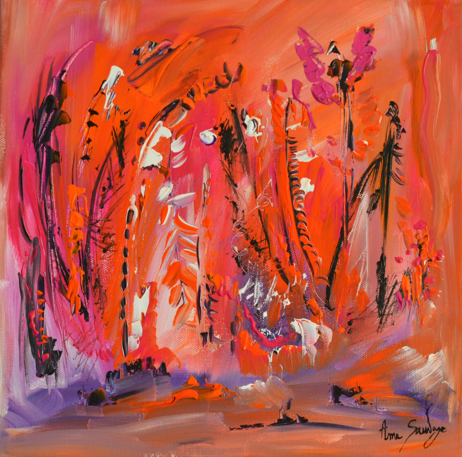 Peinture abstraite contemporaine et moderne orange for Peinture abstraite moderne