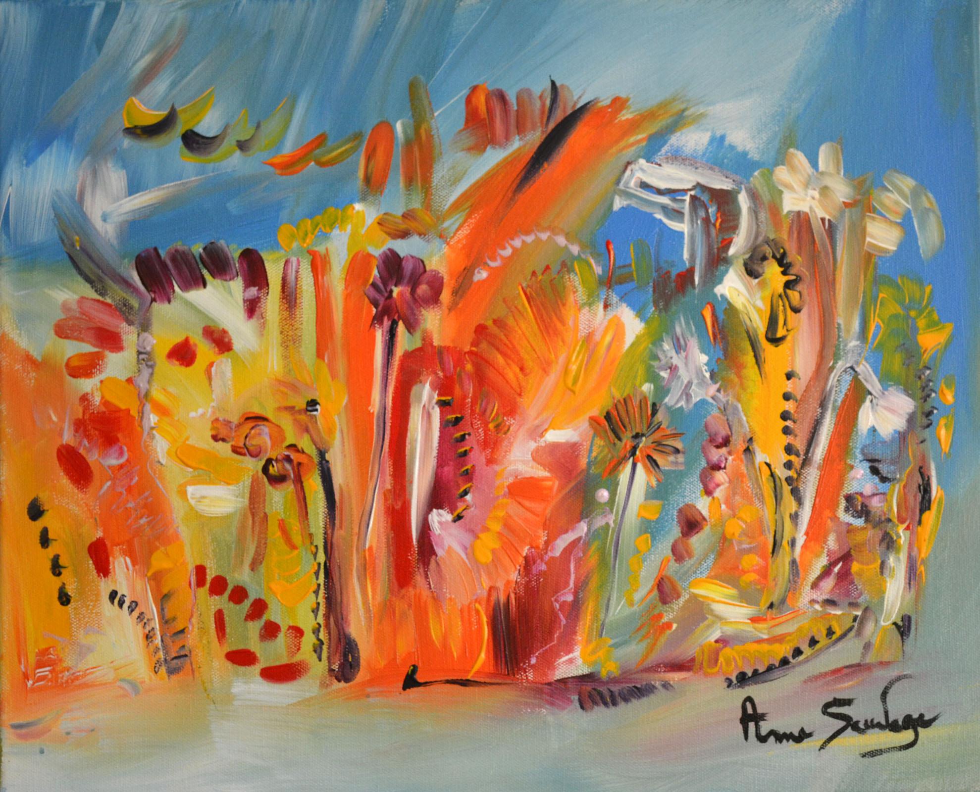 Tableau abstrait fleurs peinture florale for Photos de peinture moderne