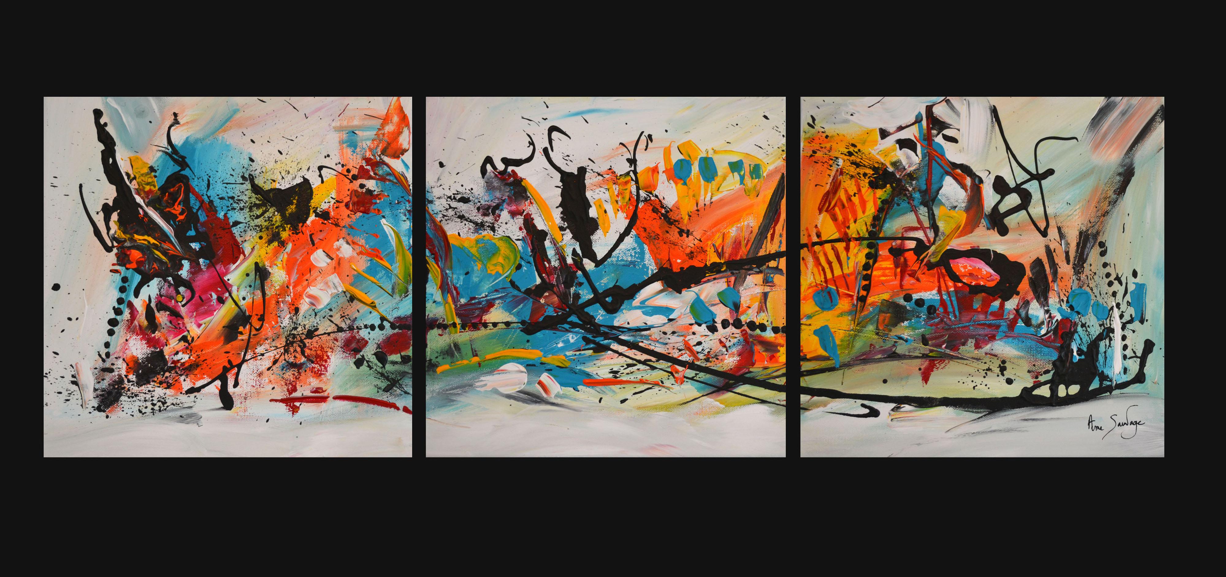 Tableau abstrait triptyque multicolore - Tableaux tryptiques contemporains ...