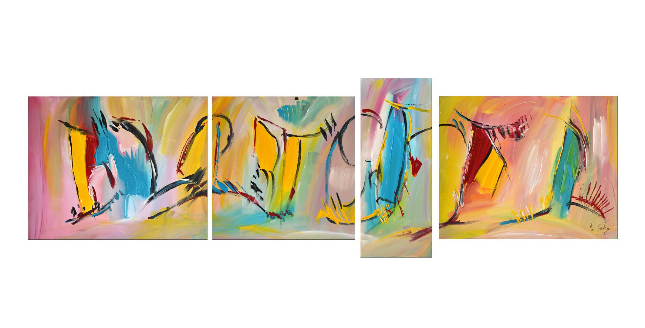 Tableaux quadriptyques uniques peints la main for Tableaux modernes colores
