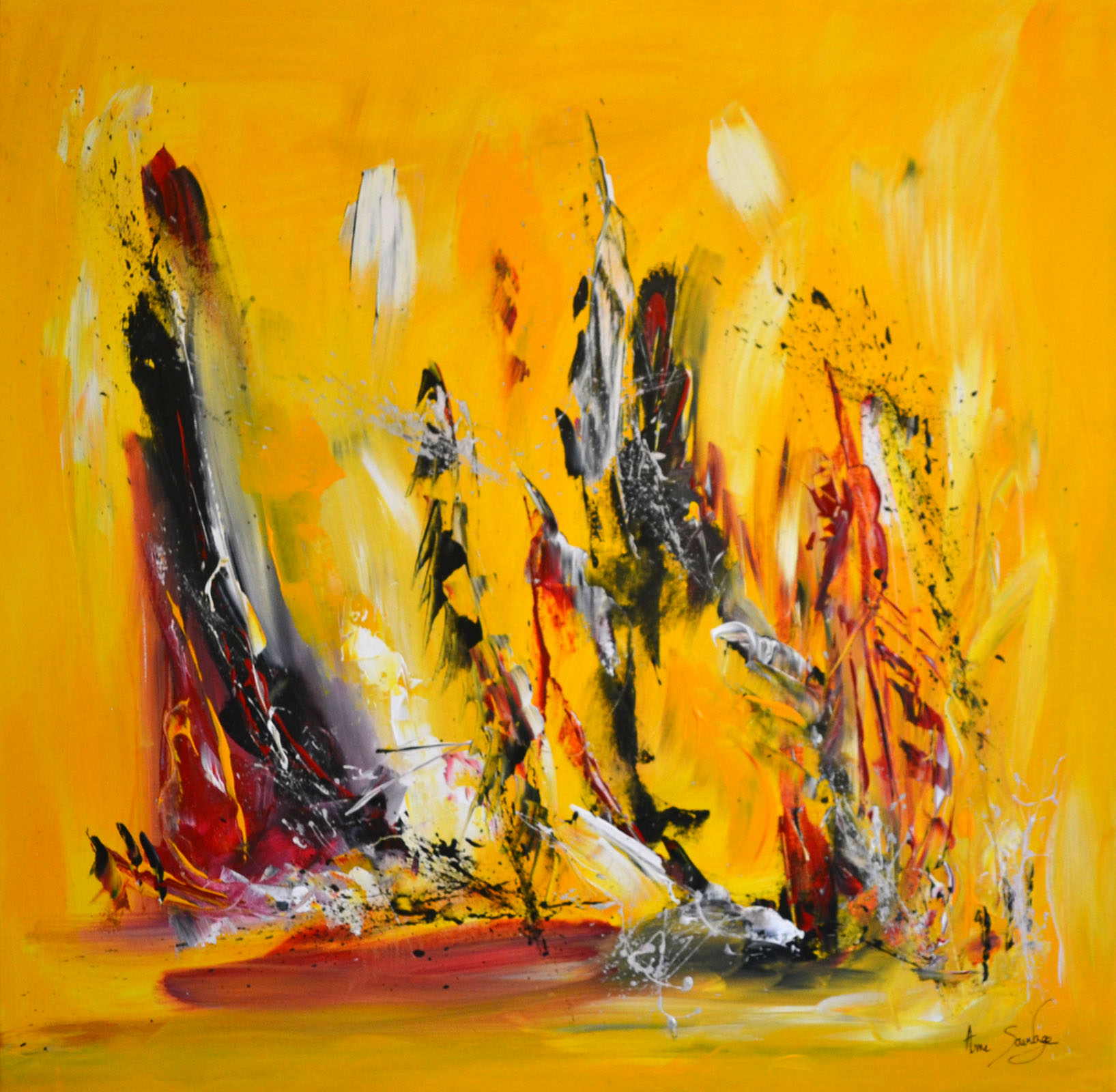 Tableau abstrait contemporain jaune noir rouge grand format for Tableau grand format abstrait