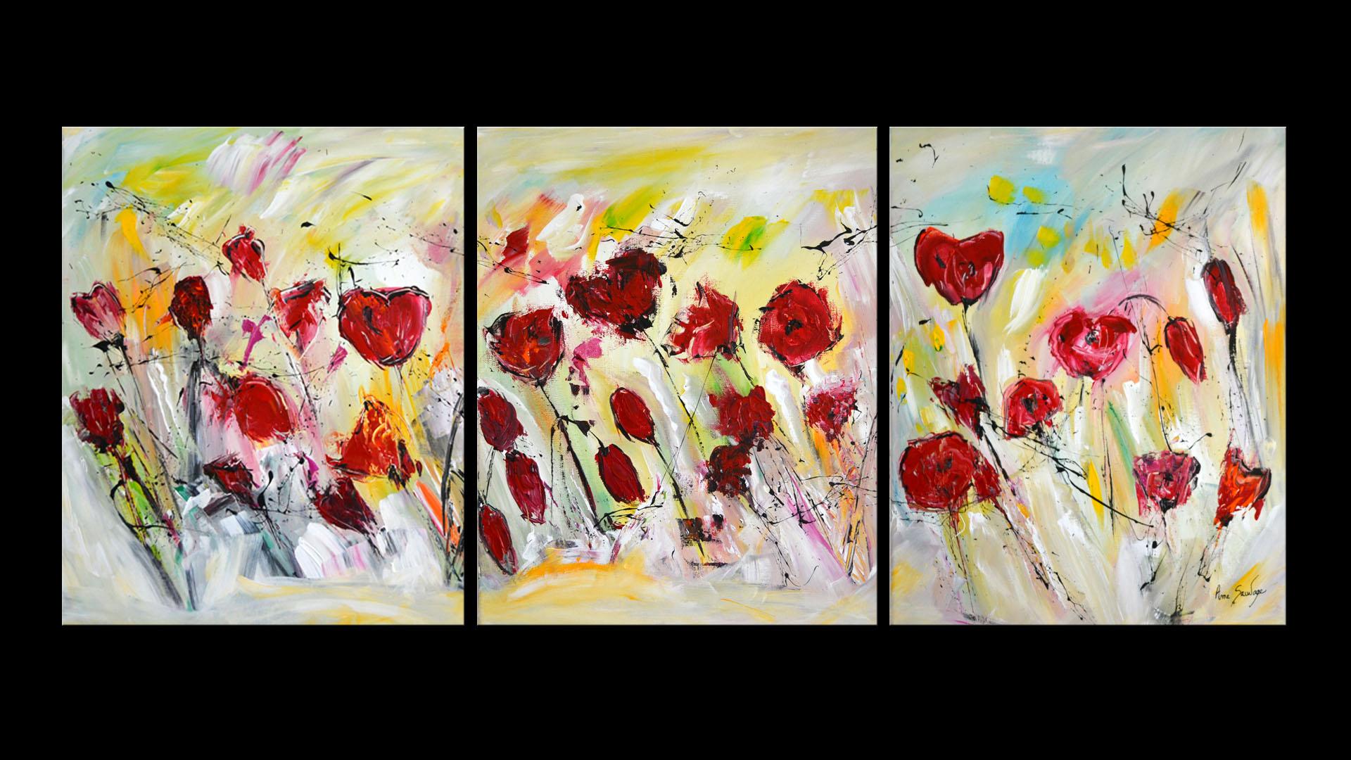 Tableau Triptyque Fleurs Coquelicots Peinture Color E