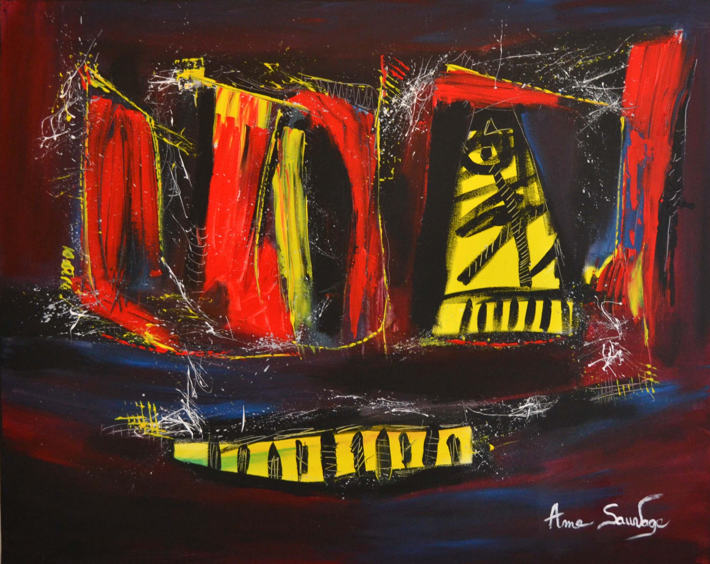 Tableau abstrait contemporain flashy peinture moderne for Tableau couleur flashy