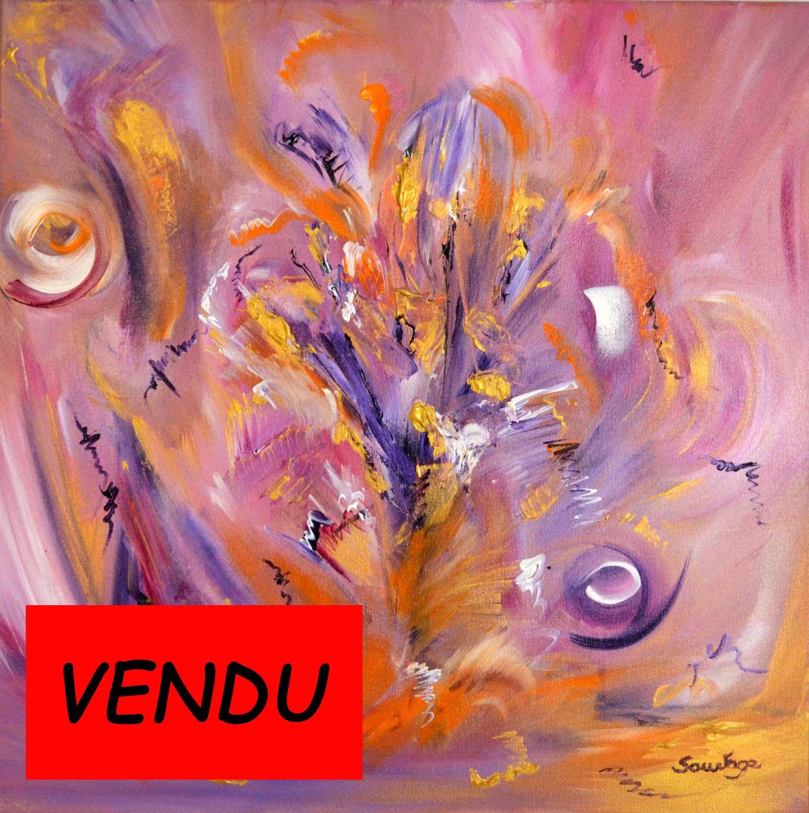 tableau abstrait fleurs arbre