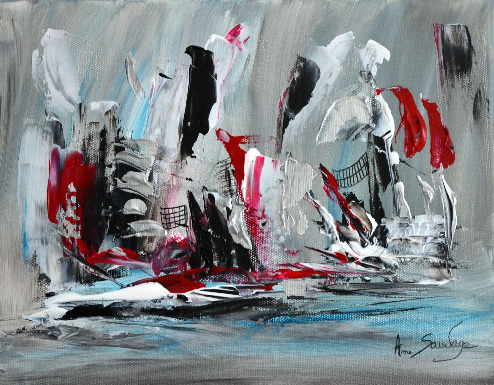 Tableau abstrait contemporain gris noir blanc rouge argent for Grand tableau noir et blanc