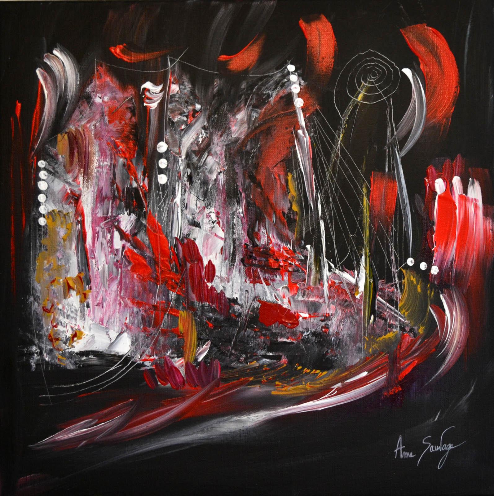 Tableau abstrait contemporain moderne noir blanc rouge - Tableau noir blanc rouge ...