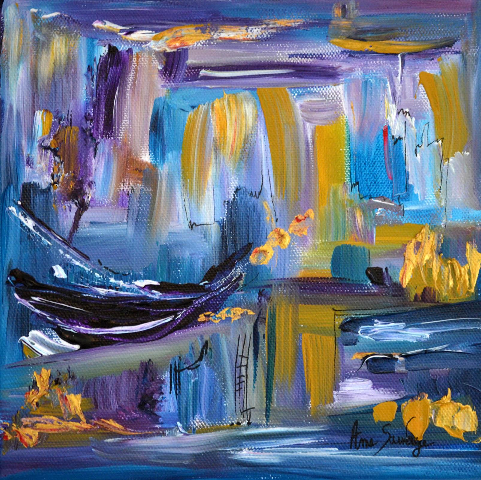 peinture abstraite moderne violet bleu or au couteau