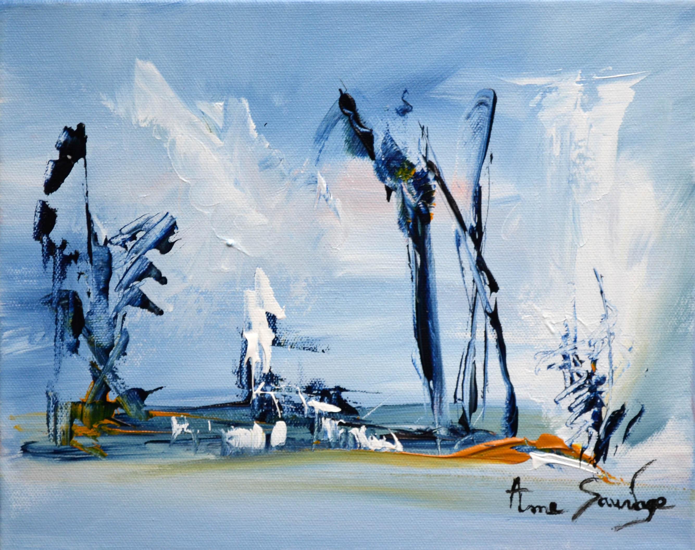 tableau bleu abstrait paysage hiver peintre abstrait ame sauvage. Black Bedroom Furniture Sets. Home Design Ideas