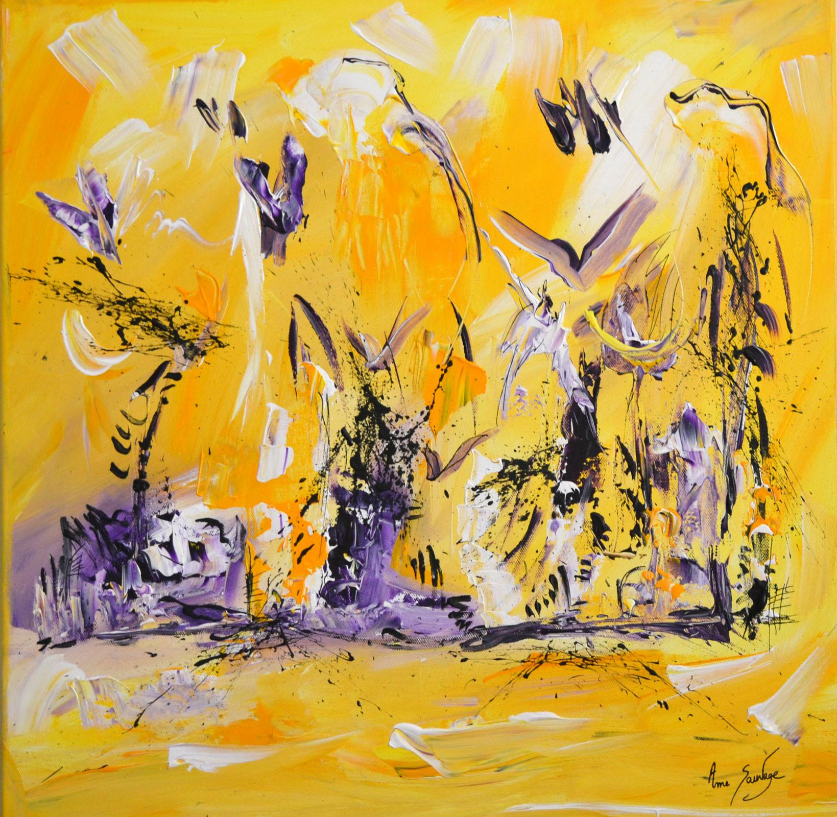 Tableau jaune abstrait peintre contemporain ame sauvage for Galerie art abstrait