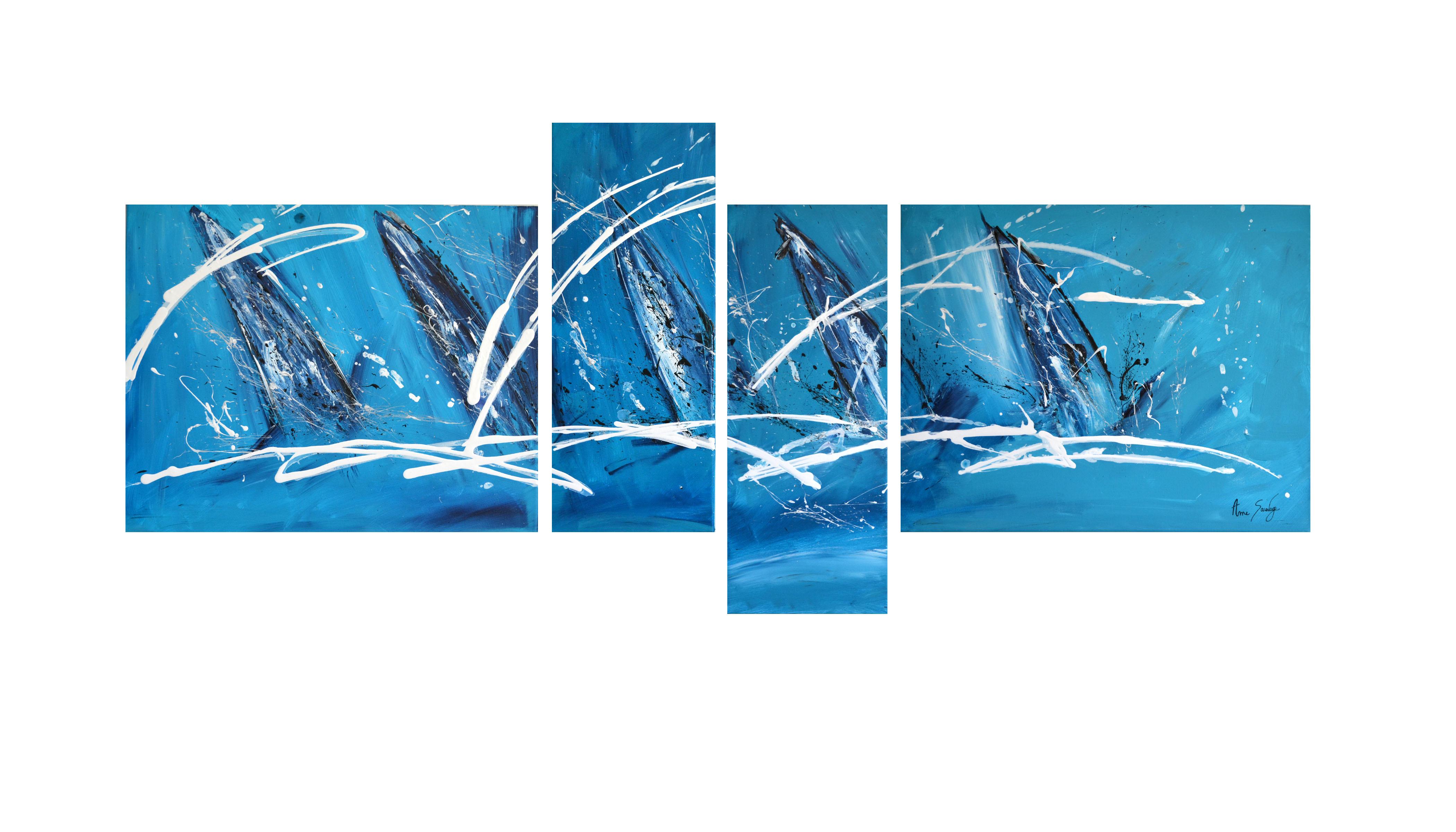 tableau quadriptyque abstrait bleu voiliers. Black Bedroom Furniture Sets. Home Design Ideas