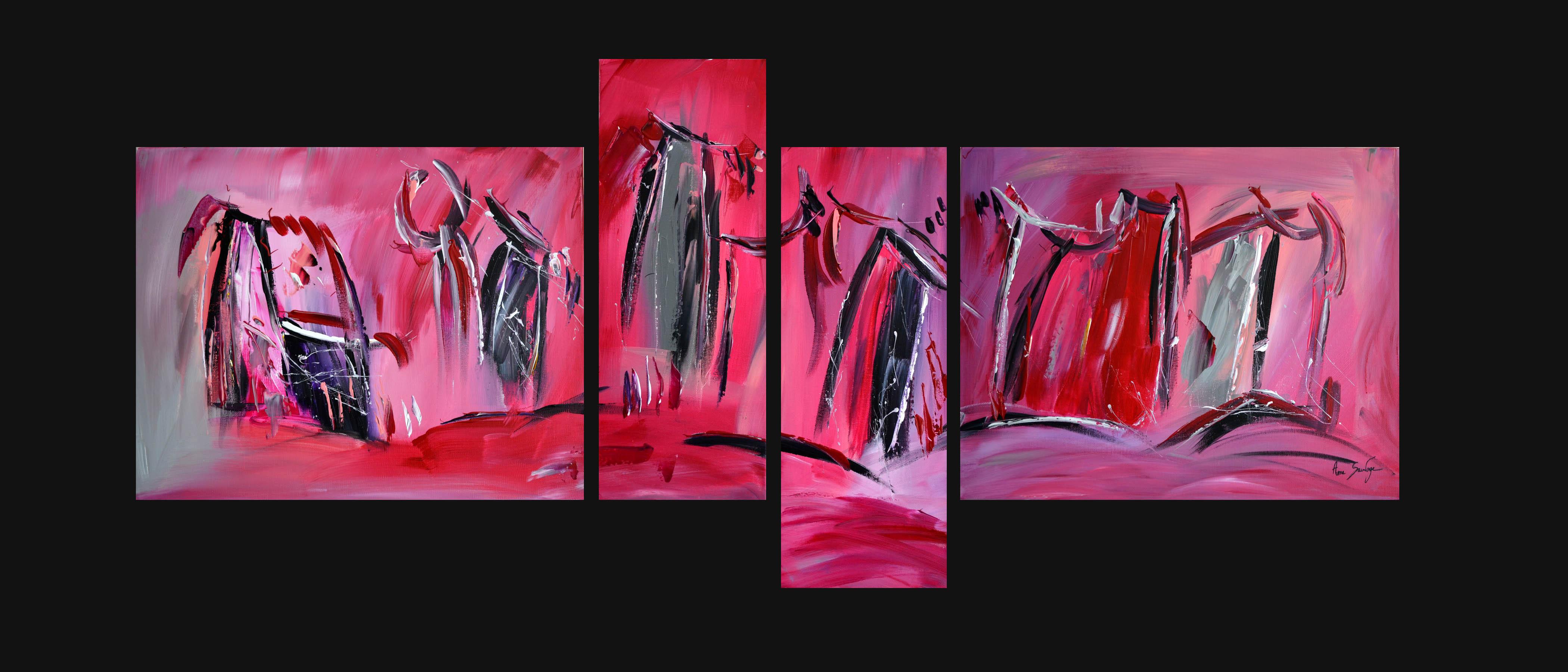 quadriptyque abstrait rouge