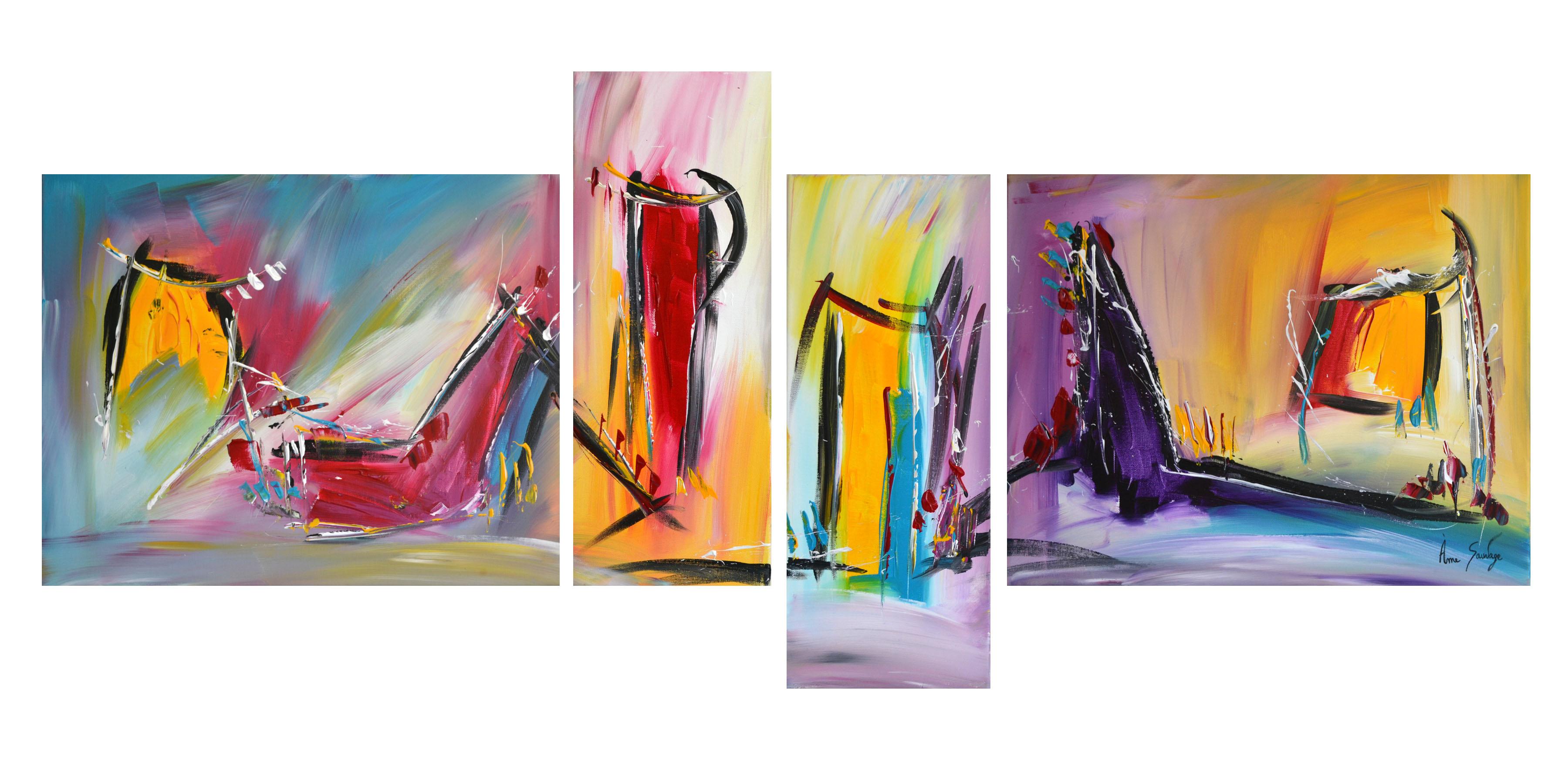 quadriptyques colorés de style abstrait