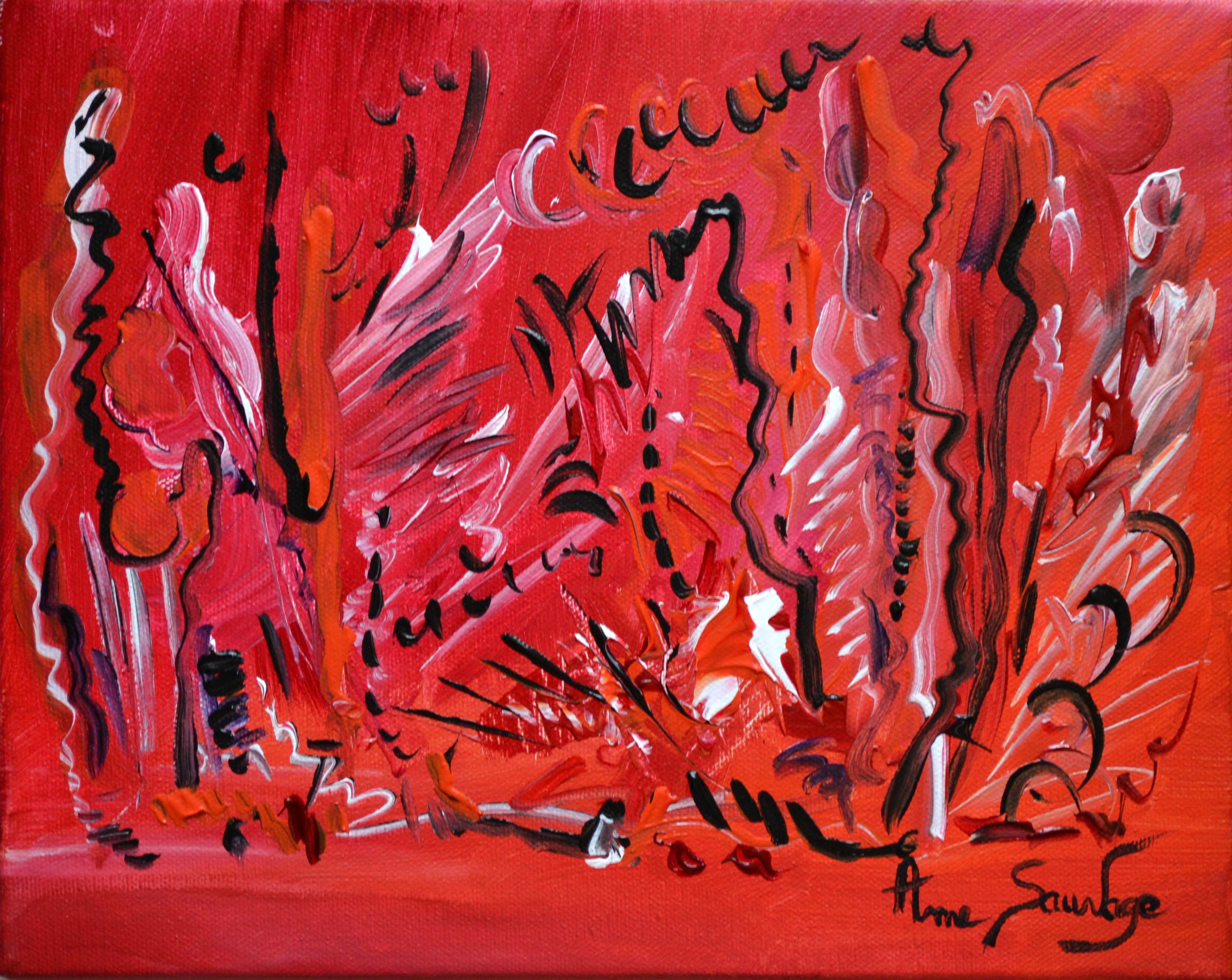Tableau abstrait rouge peintre contemporain ame sauvage for Que represente la couleur rouge