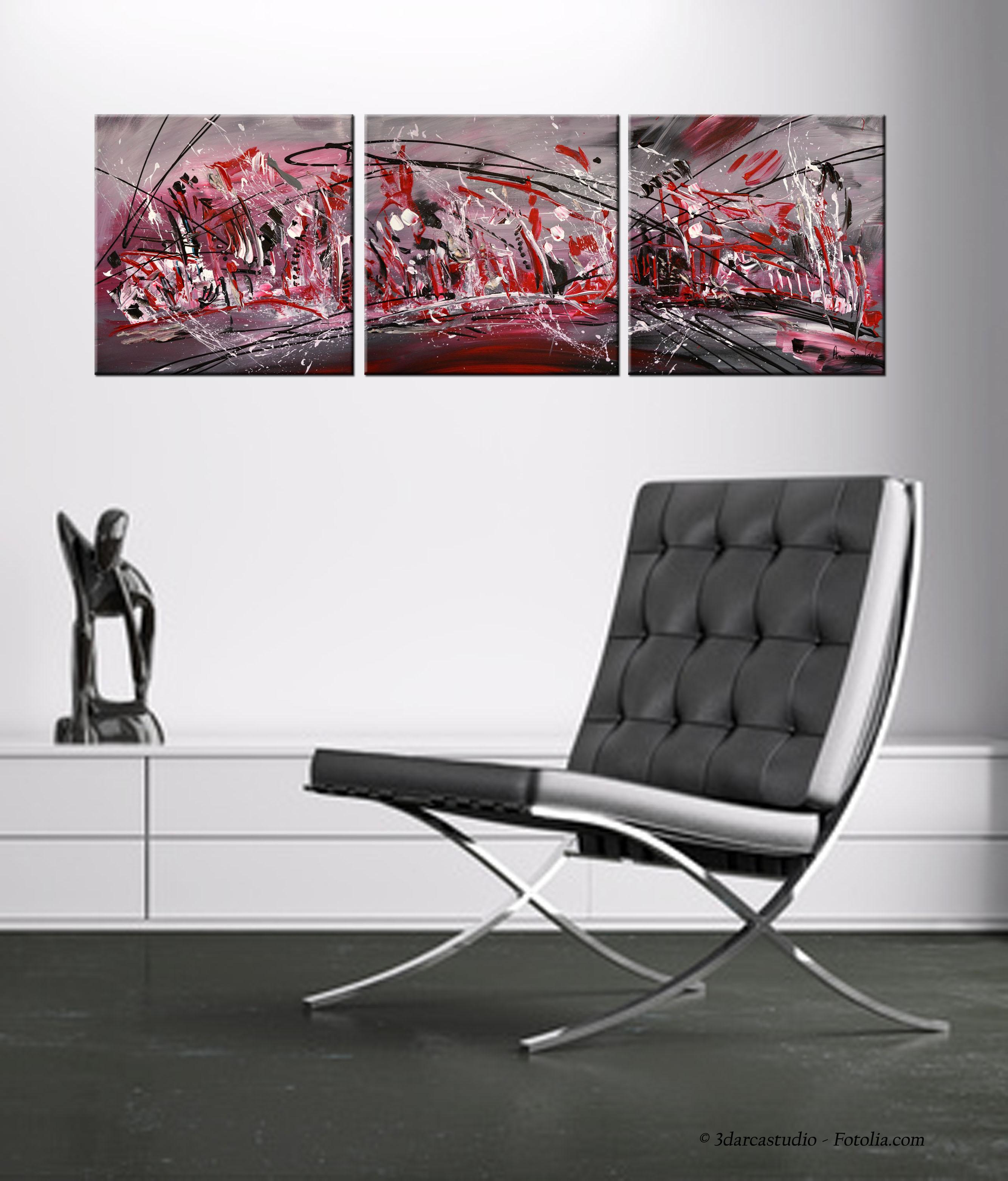 Tableau triptyque abstrait rouge noir blanc moderne - Triptyque abstrait ...