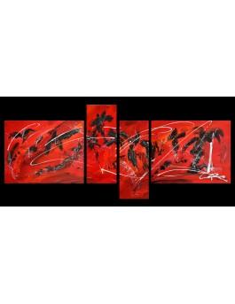 Tableau quadriptyque rouge noir blanc