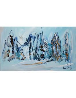 Peinture abstraite bleu Les hommes de glace