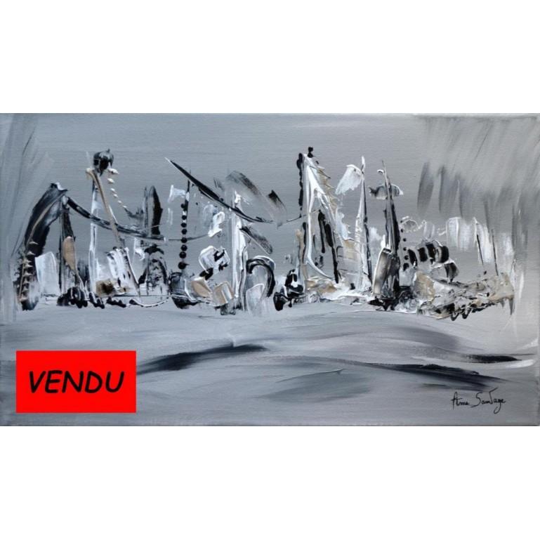 Tableau contemporain noir et blanc Voguer sur la mer