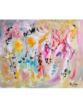 Au pays des songes tableau abstrait multicolore