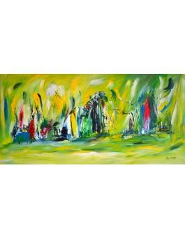 Luminescence - grand tableau abstrait vert