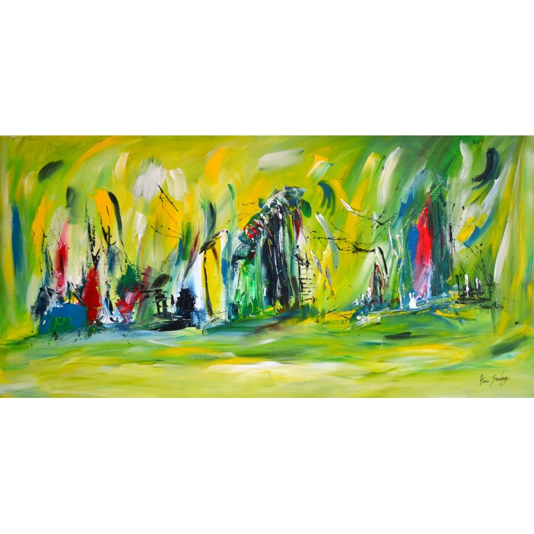 Luminescence - tableau abstrait vert