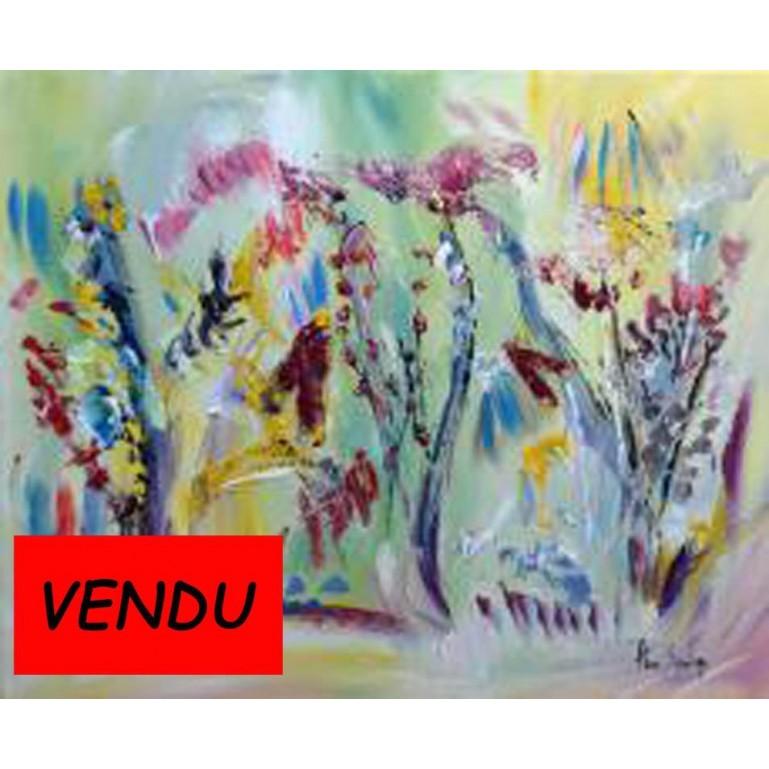peinture florale multicolore Fleurs sauvages