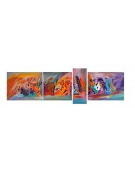 Tableau quadriptyque coloré fleurs
