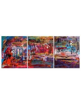 Rythmique - tableau triptyque multicolore