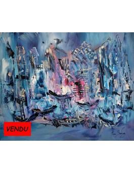 Le port de glace - tableau contemporain bleu