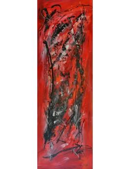 Dissolution - grand tableau abstrait rouge et noir panoramique
