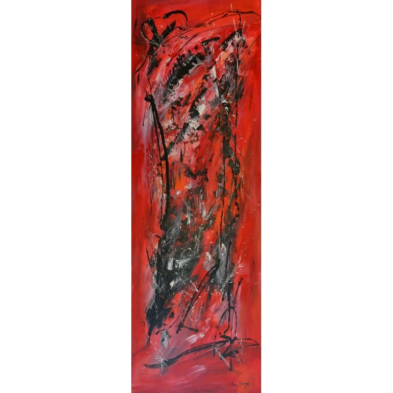 Dissolution - grand tableau abstrait rouge