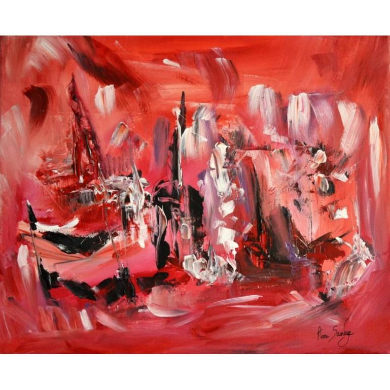 Tableau rouge abstrait Les terres rouges