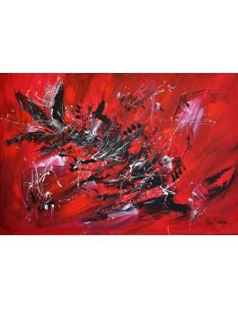 Tourbillon - tableau abstrait rouge