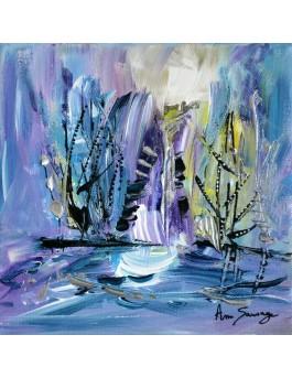 tableau abstrait bleu violet vert argent