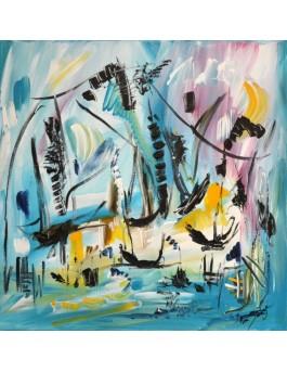 peinture abstraite bateaux Le jour des voyages