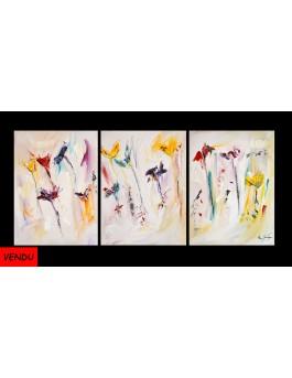 Les fleurs en couleurs - triptyque fleurs