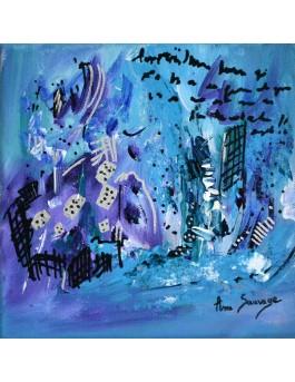 Jeux d'hiver - tableau abstrait violet bleu