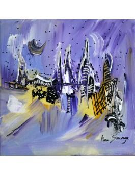Village en hiver - tableau abstrait violet jaune
