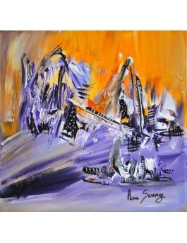 Soleil sur la neige - tableau abstrait violet orange