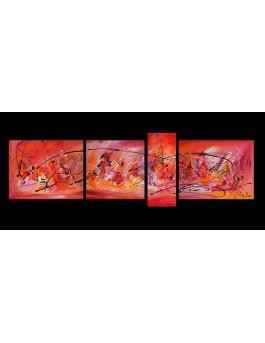 Danse volcanique - grand tableau rouge et orange