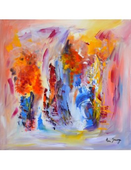 Souvenirs - peinture sur toile colorée