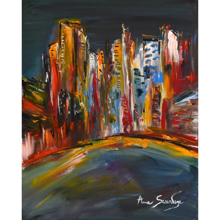Ville de nuit - tableau façon new york