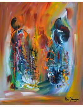 La force de la pensée - toile moderne colorée