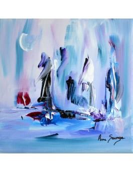 Une vie au froid tableau bleu blanc