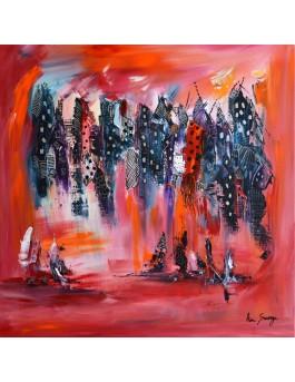 Ville suspendue - Tableau abstrait rouge